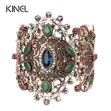 2017 Unique Charm Retro Cuff Bracelet For Women Gold Color Turkish Style Can Adjust Size Big Bracelet Party Jewelry Accessories