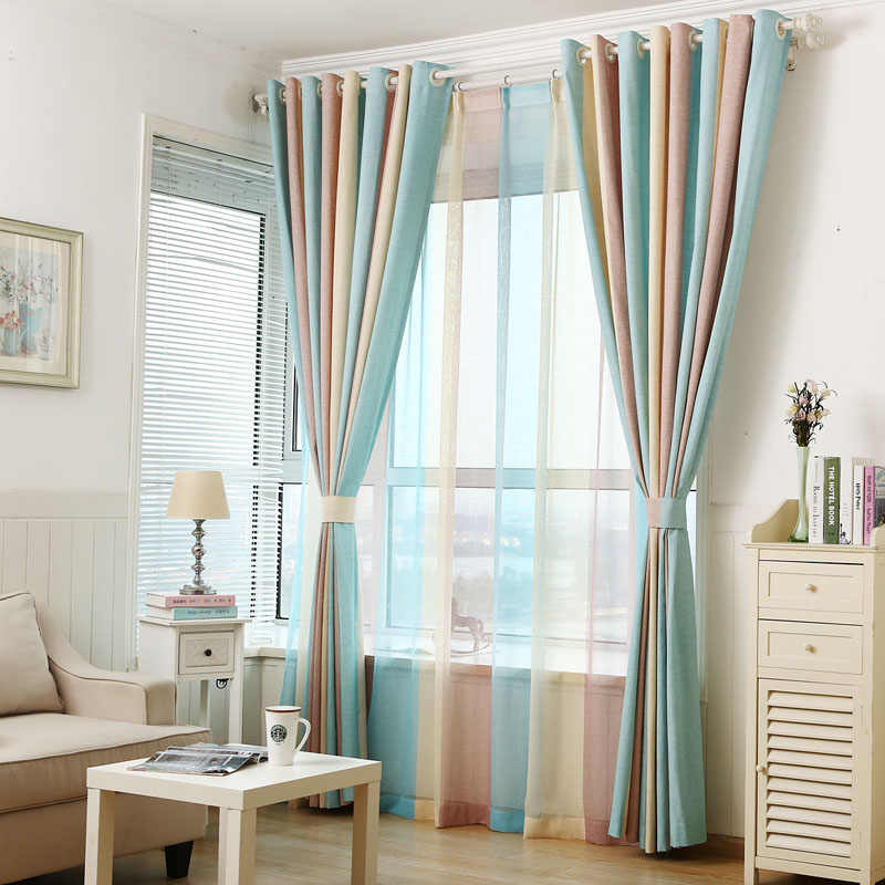 Blue Yellow Brown Striped Jacquard Art Modern Fancy Cotton Linen Blackout Curtains Cloth and Voile Tulle Living Room Bedroom