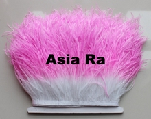 20yard Natural Ostrich Feather fringe pink with white Ostrich feather Trimming 10-15cm Feather Boa Stripe for Party Clothes