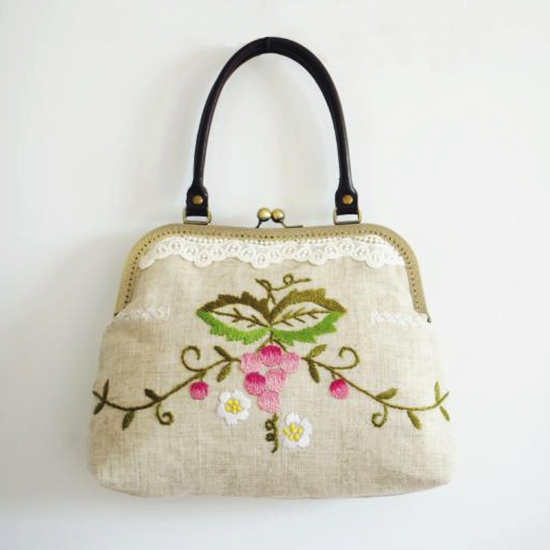 Handmade Grape Embroidery Handbag Grapevine Flower Design Bag Vintage Women Crossbody Bags Floral Embroidery Bag Fruit 3 Style<br>
