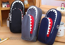 Boys Girls Personality Stationery Creative Shark Large Capacity Canvas School Pencil Case Pencil Bag Pen Case with Code Lock(China)