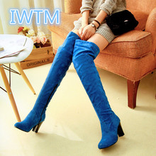 2016 Plus Size 35-43 Women Knee High Boots Sexy Chunky High Heels Round Toe Spring Autumn Shoes Round Toe Less Platform Boots