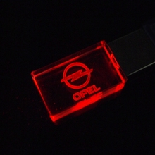 Crystal Car Logo for OPEL USB Flash Drive 4GB 8GB 16GB 32GB USB 2.0 Flash Memory Pen Drive Stick LED light usb Free LOGO Over 20