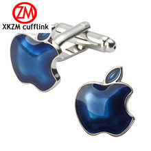 XKZM High Quality Men Cuff Links Vintage Mens Wedding Party Gift Classical Blue apple Cufflinks engraved gold silver VCC23 P3(China)