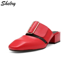 2017 new fashion women shoes genuine leather red wedding party shoes thick high heels ladies sandals fashion brand sandals