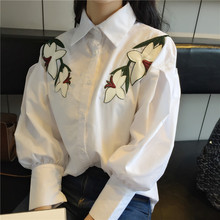 Recommend Lily Flowers Embroidery White Blouse Women Shirt Big Lantern Sleeve Chemise Femme Chemisier Blusa Y Camisa Mujer