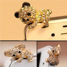 Cute Crystal Metal 3.5mm Earphone Jack Anti Dust Plug Stopper Ear Cap Cell Phone Charms for Apple iPhone 5 5S iPhone 4 Samsung