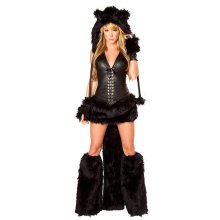 Vocole Animal Black Cat Women Costume Faux Fur Catsiut Party Fancy Dress Hat+Top+Skirt+Gloves+Foot cover(China)