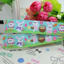 7/8'' Free shipping rabbit easter printed grosgrain ribbon hairbow diy party decoration wholesale OEM 22mm P2420