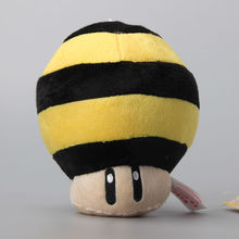 "10 Pcs/Lot Super Mario Bee Mushroom Yellow Strip Plush Soft Toy Dolls 5"" 13 CM"