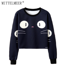 MITTELMEER 2018 bts Harajuku Sweatshirt Woman girls crop top Cartoon cute cat Bear banana fruit printing short Sweatshirt Hooded(China)