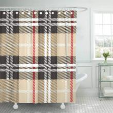 CHARM HOME Shower Curtain With Hooks Beige Tartan Pattern