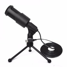 Portable Microphone SF-960B 3.5mm / USB Audio Wired Stereo With Holder Stand Clip For PC Chatting Singing Karaoke Laptop