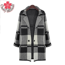 Winter Women Cape Coat Explosion Models 2015 New Autumn Plaid sweater Lapel knit Cardigan jacket And Long Sections Plus Size