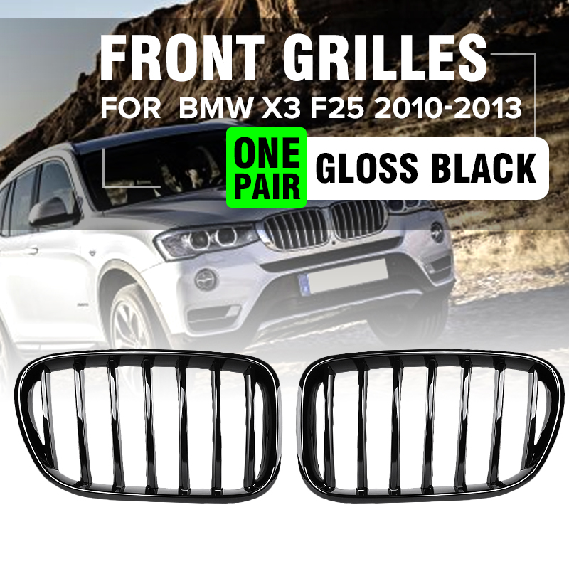 METAL LOOK M COLOR SHINY BLACK M STYLE GRILLE+MARKER FENDER BMW F15 X5