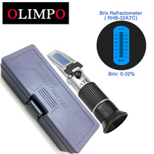 OLIMPO Brix Refractometer RHB-32ATC test sugar 0-32% Multifuction scale For fruit juice tomato sauce soft drink beer brewing ATC(China)