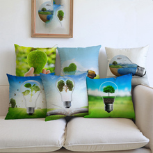 Green Environment Protection Public Serice Advertising Saving Bulb Throw Pillow Cover Green Creative Solar Energy Cushion Covers(China)