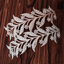 Luxury Silver Crystal Leaf Vine Bridal Tiaras Wedding Headband Hair Accessories Rhinestone Pageant Prom Crown Bride Head Jewelry