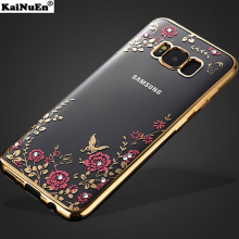 luxury gold original phone back coque,cover,case for samsung galaxy s8 s 8 plus silicon silicone diamond accessories soft tpu(China)