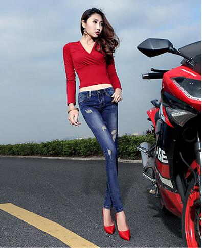 Top fashion 2017 summer high quality pencil sheath woman denim pants cotton button scratched zippers skinny women jeans D86Одежда и ак�е��уары<br><br><br>Aliexpress