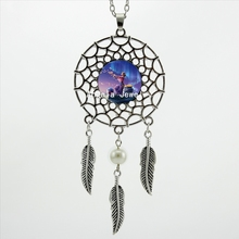 2017 Trendy Style Fantastic Star Necklace Dream Catcher Pendant Fantastic Galaxy Jewelry Dreamcatcher Feather Necklace DC-00345