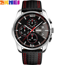 SKMEI 2017 New popular Brand Men Watches fashion analog quartz watch 50M waterproof auto date black dials quality leather starp