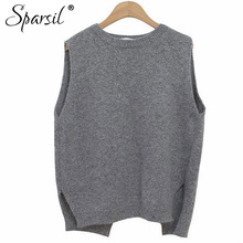 Sparsil Women Winter&Autumn O-Neck Cashmere Blend Sleeveless Vest Sweater Korean Style Fashion Lady Knitwear Jumper(China)