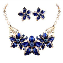 Tomtosh 2016 New Jewelry Set Necklace Earrings Woman Lady Party Oil Drop Flower Joker Romantic Beautiful Amazing Free shipping