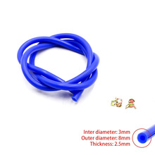 New Silicone Vacuum Hose /Tube Silicone Pipe ID:3mm OD:8mm with Clamp  Blue color
