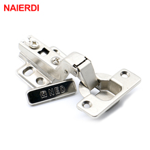 NAIERDI Self Elasti Half Overlay Hinge Cupboard Cabinet Kitchen Door Hinge 35mm Cup Special Spring Hinge For Home Hardware(China)