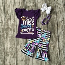 Baby girls summer clothing girls little miss sassy pants clothing purple top with floral ruffle shorts outftis with accessories