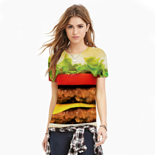 2016 American Apparel Women T Shirt Big Mac Hamburger Digital Printing Tees  Tops Plus Size Couple Clothes