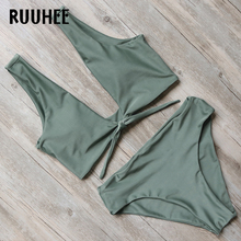 RUUHEE New Bikini Swimwear Women Swimsuit Bathing Suit Bikini Set 2017 High Cut Moderate Coverage Sexy Bottom Female Beachwear(China)