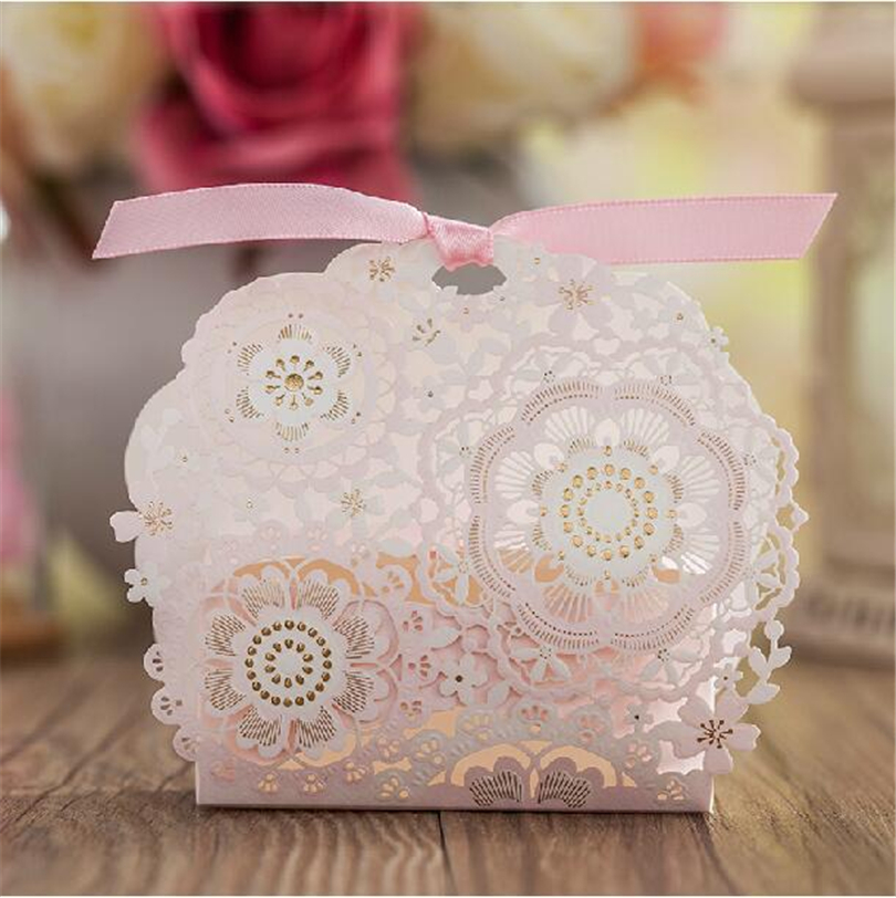 50pcs Flower Chocolates Cookie Candy Box Wedding Favors Decor Diy