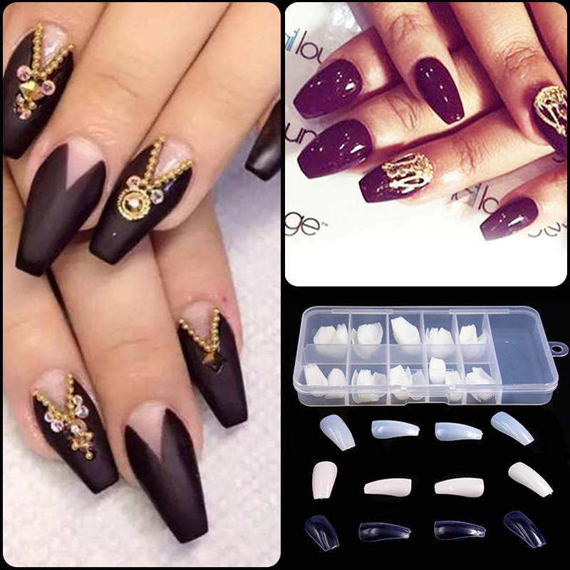 100pcs Long Ballerina False Nails Tips Coffin Nails For Nail Decoration 3 Colors + Box(China (Mainland))