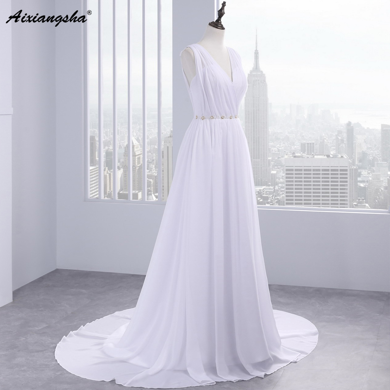 Dress Bride Ivory Chiffon Open Back 2017 Greek Style Vestidos Wedding Dress Sleeveless Floor Length Sexy Wedding Dress 4