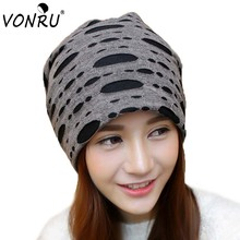Stylish Autumn Winter Hats with Holes Causal Baggy Beanies for Women Men Hip Hop Gorros Ladies Caps Solid Color Bonnet Hats