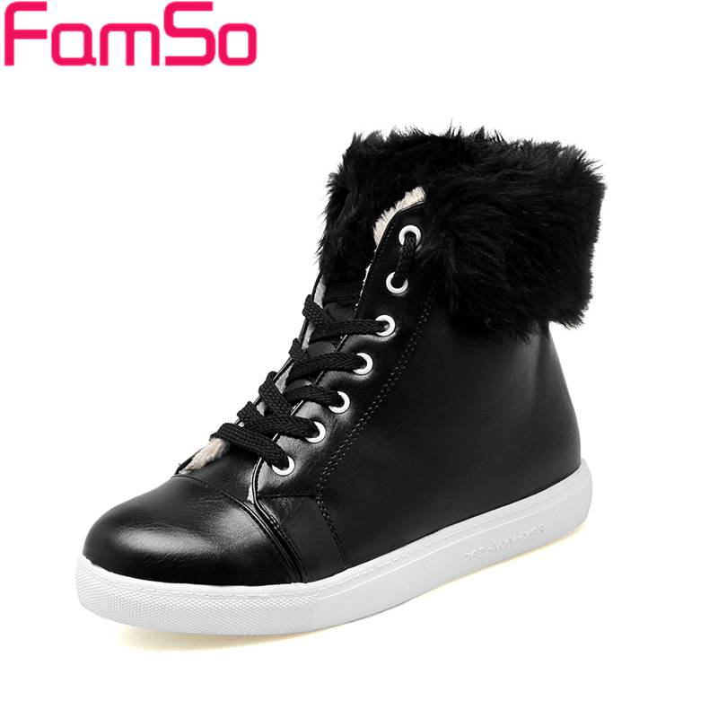 Plus Size 34-43 2017 New Fashion Women Boots Black White Martin Boots Lace-up Flats Shoes Winter Keep Warm Snow Boots SBT4480<br><br>Aliexpress
