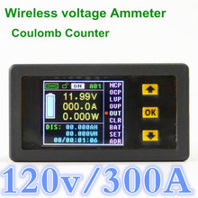 VAC1300A  Digital LED Wireless voltmeter power meter  Coulomb Counter For voltage current power capacity watts 120V/300A