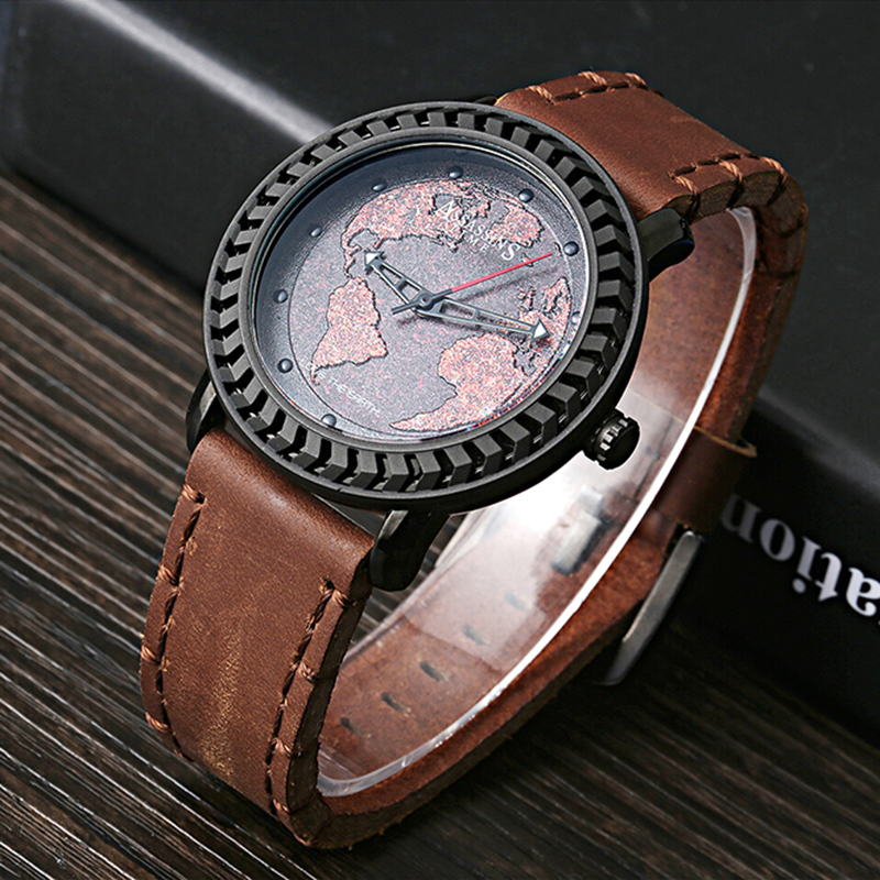 Fashion Retro Map Style Mens Watches Top Brand Luxury Leather Quartz-watch  Sport Men Wrist Watch reloj hombre Assassins Time<br>
