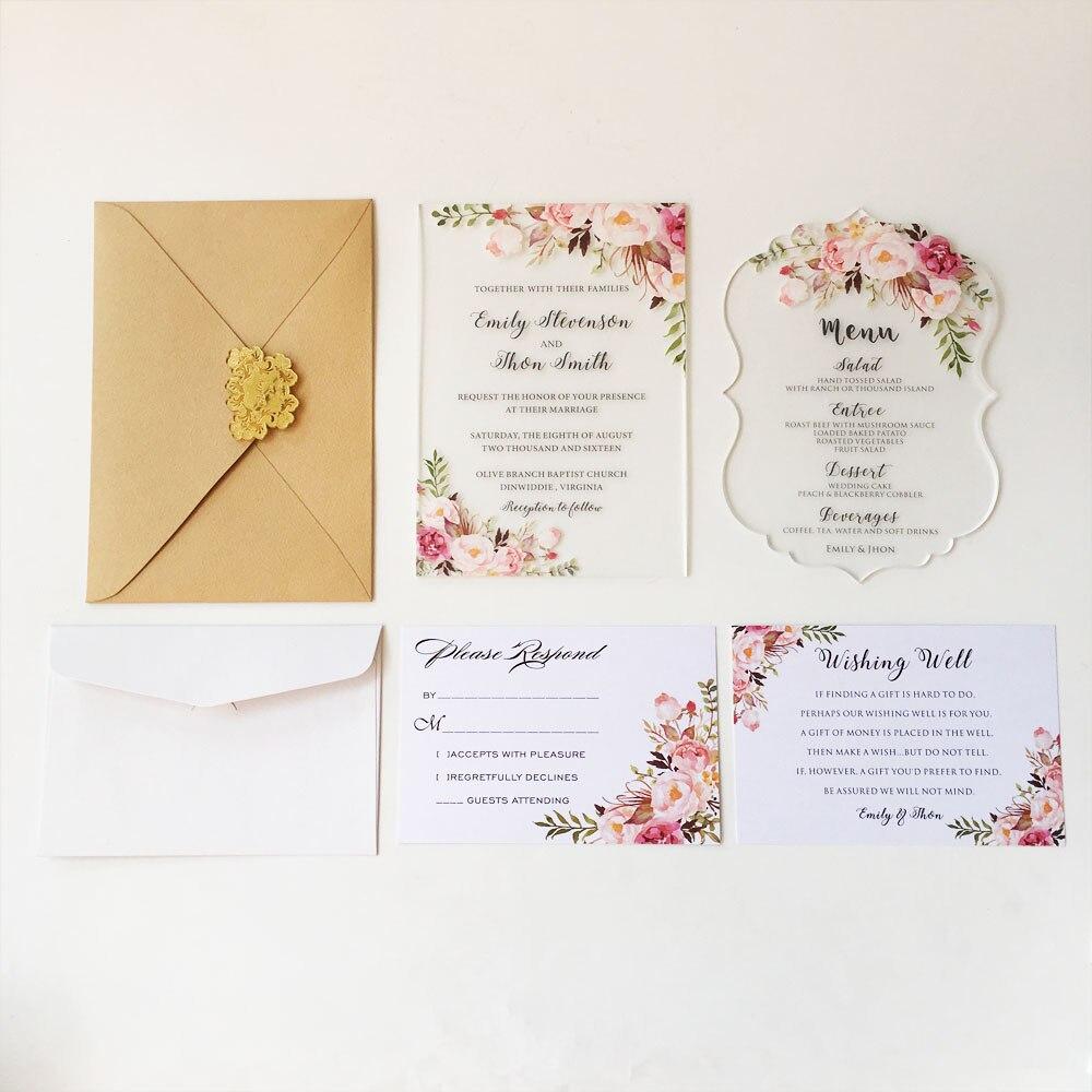 Sample order for Clear acrylic wedding invitation card scroll shape ...