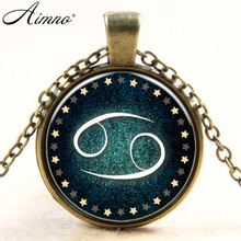 New Zodiac Cancer art necklace pendant jewelry statement necklace vintage silver plated chain necklace men women choker B461