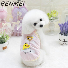 BENMEI New Pet Dog Clothes Cute Cartoon Vests Small Cotton Spring Summer Puppy Cat T-shirt Clothing Dog Tank Top(China)