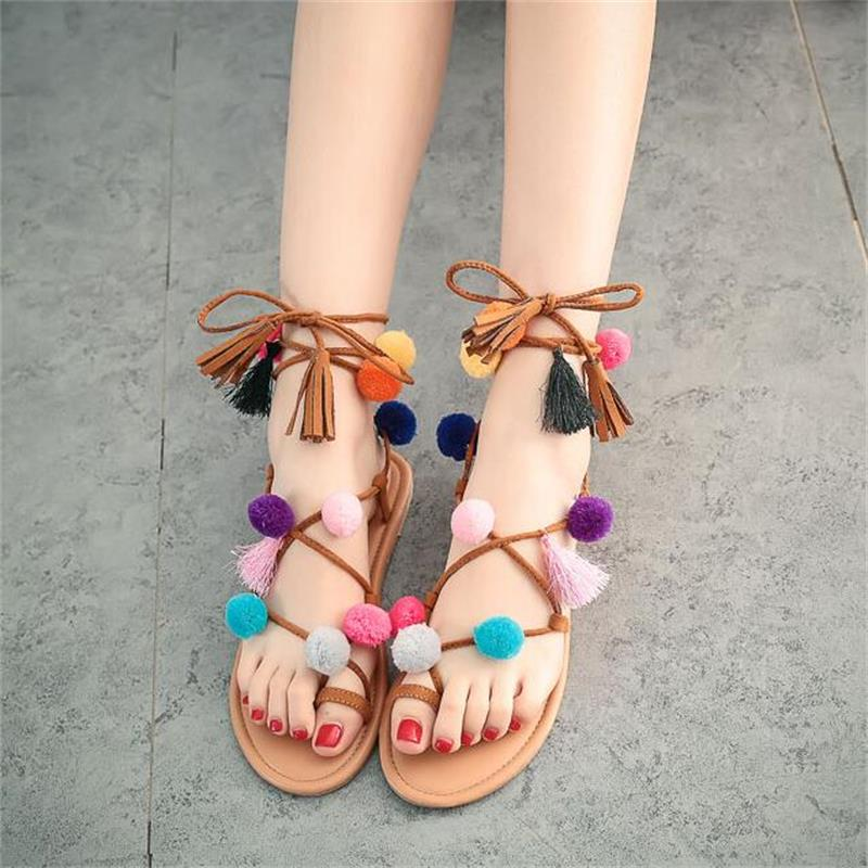 Ethnic Bohemian Summer Woman Pompon Flat Sandals Gladiator Roman Strappy Ankle Boots Tassel Shoes Free Shipping<br><br>Aliexpress