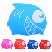 New Cartoon Shark Head Sharp Teeth Children Kids Swim Pool Sports Flexible Protect Ears Waterproof Silicone Swimming Cap Hat(China)