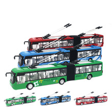 New 1:48 Alloy Model Bus Plastic Diecast Toy Vehicles Pull Back Flashing With Musical High Simulation Tourist Bus Long Bus Gifts(China)