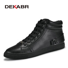 DEKABR Handmade Real Leather Boots Warm Fur Plus Size Men Winter Shoes,Full Grain Leather Super Warm Men Winter Shoe For Russian
