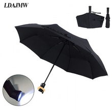 LDAJMW New High quality Automatic Folding Umbrella LED Flashlight Lampumbrella Umbrella Anti-uv Sun/rain Sun Novelty Umbrella(China)