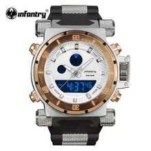 Buy Luxury Brand INFANTRY Golden Watches Men Big Dial Quartz LED Digital Rubber Clock Sports Army Military Watches Relogio Masculino for $28.79 in AliExpress store