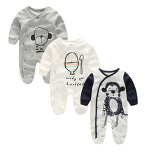 Newborn Baby Rompers Cotton Long Sleeve Long sleeves with feet Animal Printed Baby Boy Girl Clothes Baby Pajamas Infant Jumpsuit(China)